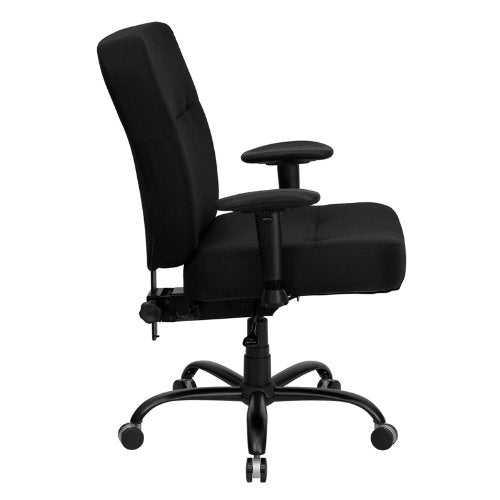 big and tall black fabric executive office chair with arms