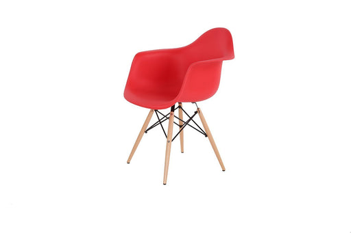 Red - Natural Wood Legs Eiffel Dining Room Chair (Set of 4)
