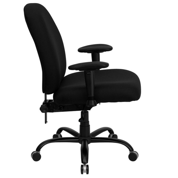 Nicer Interior - WL-715MG-BK-A-GG Hercules Series 400-Pound Big/Tall Black Fabric Office Chair with Arms/Extra Wide Seat