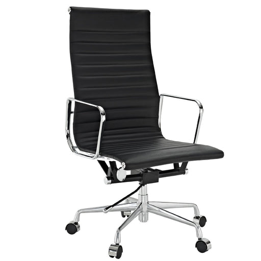 Eames Group Aluminium Chair #CF-093-High Back Office Chair- Real leather Executive Chiar Conference Chair-Black
