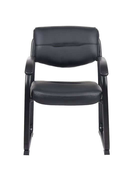 Leather Guest or Reception Chair - Scratch Resistant with Arms and Sled Base Side