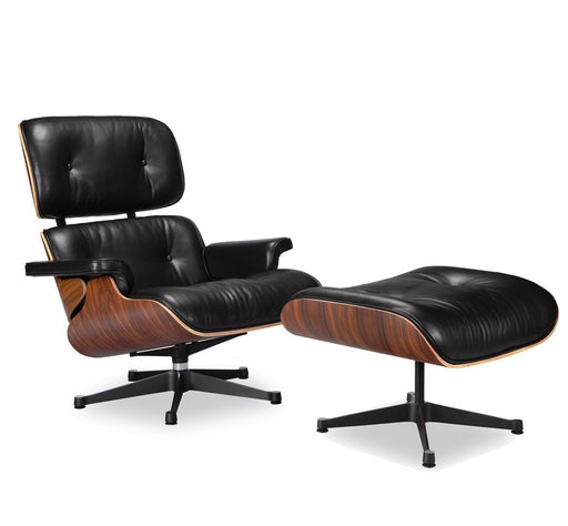 Modern Eames Lounge Chair and Ottoman Black Italian with Rosewood/Palisander