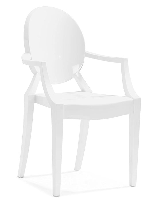Modern Wood Chair with Arms Polycarbonate Plastic in White (Set of 5)