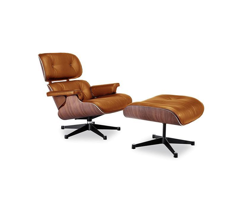 Modern Lounge Chair and Ottoman Dark Brown Leather Rosewood/Palisander Finish