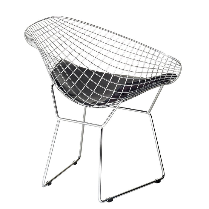 Diamond Lounge Chair - Chromed Steel with Leatherette PU Pad