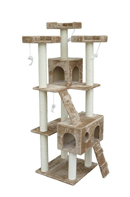 "71"" Cat Tree Condo Five Tier Scratcher Beige"