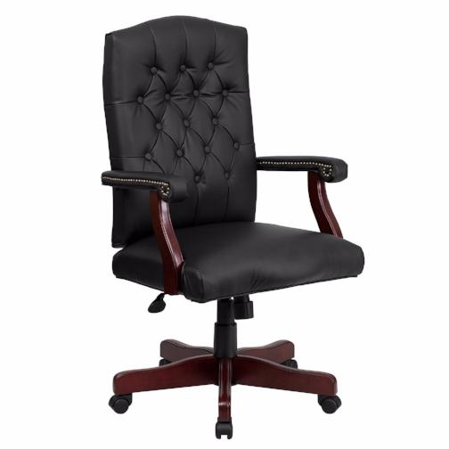 Martha Washington Black Leather Executive Swivel Chair