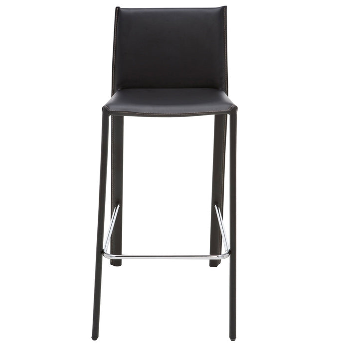 Bridget Counter Height Stool in Black Leather w/ Contrast Stitch