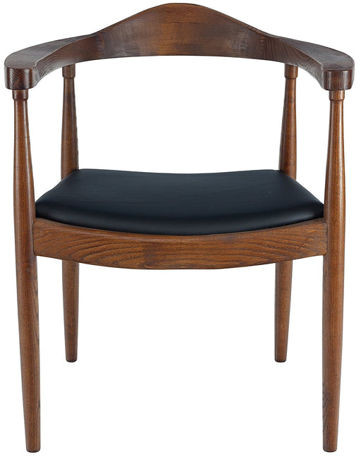 Hans Wegner Presidential Dining Arm Chair - Black PU Seat Cushion Walnut Finish- (Set of 2)