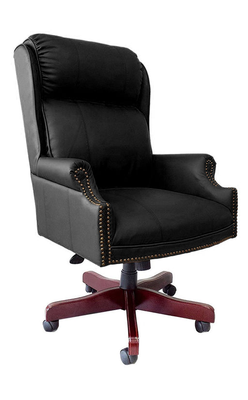 Traditional High Back Executive Chair Pillow Back Black Leather