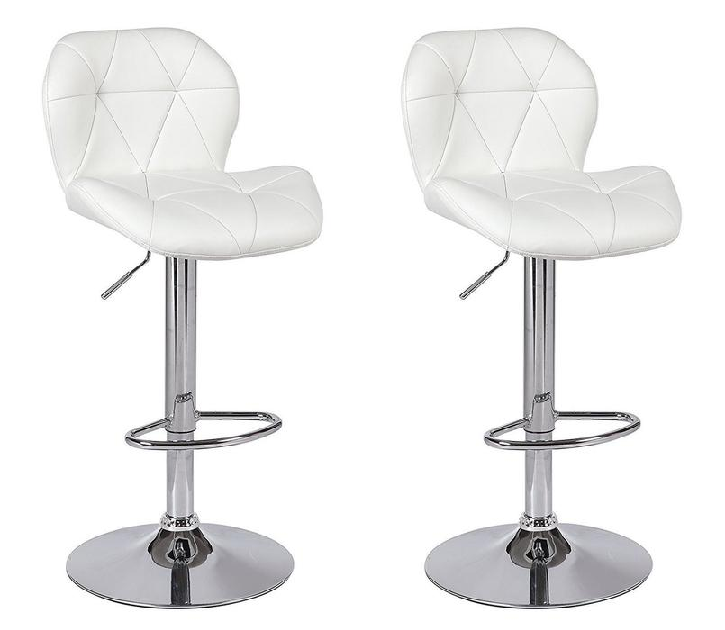 Tripatch Modern PU Height Adjustable Dining Bar Stool in Black (Set of 2)