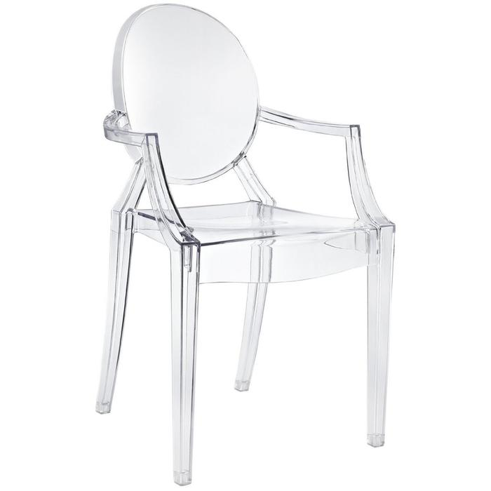 Modern Dining Chair with Arms Polycarbonate Plastic