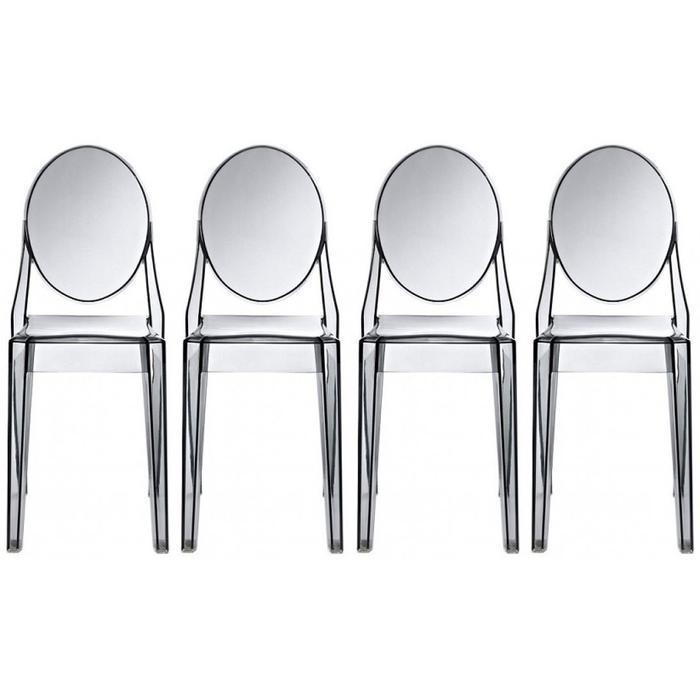 Modern Victoria Dining Chair in Transparent Crystal Plastic