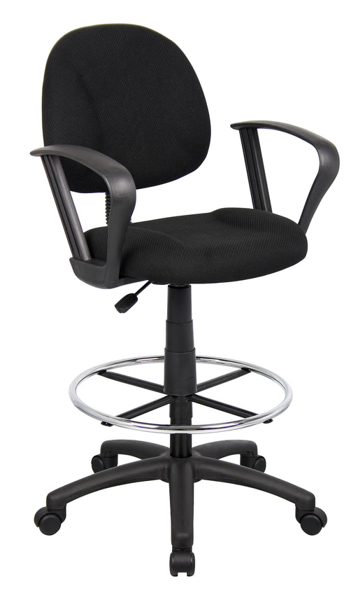 Loop Arms - Black Fabric Drafting Chair/Stool and Foot Ring