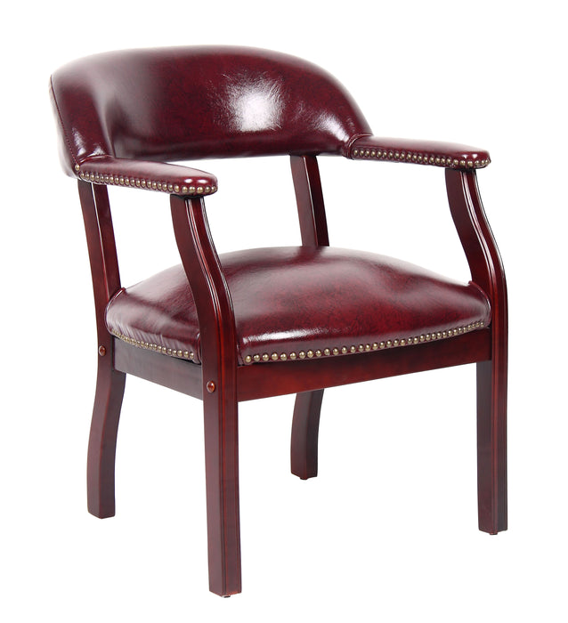 Traditional Captain's - Wooden Frame Leather Conference Chair