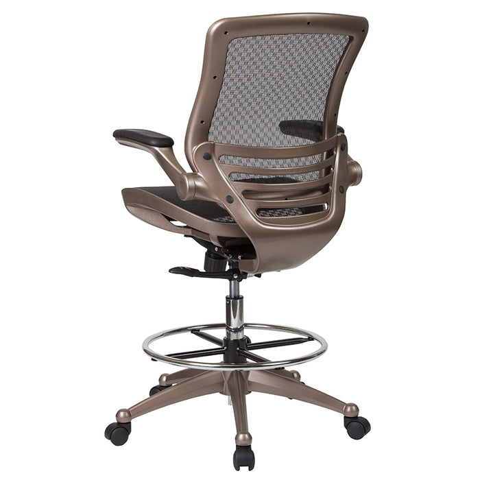 Mid-Back Transparent Black Mesh Drafting Chair