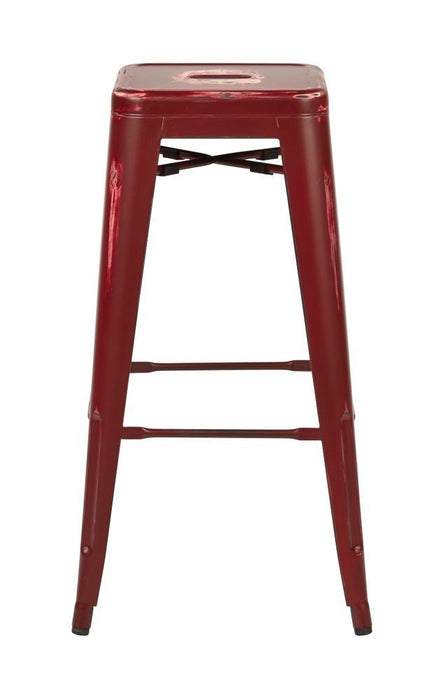 "Bristow 30"" Antique Metal Barstool, Antique Red Finish, 4 Pack"