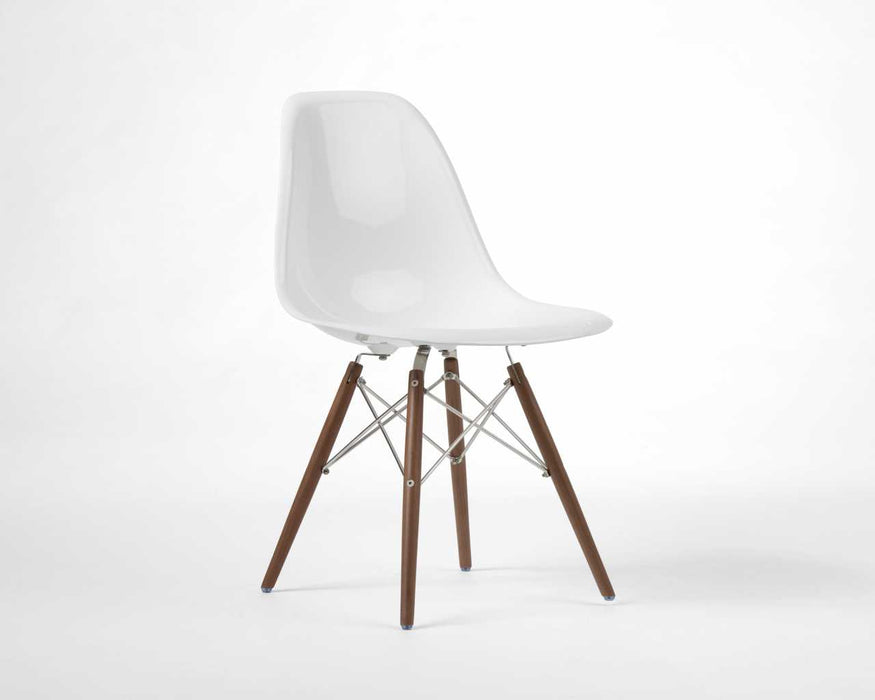 Fiberglass Dining Side Chair - White Wood Dowel