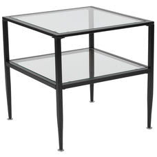 Nicer Furniture - Newport Glass End Table - Black Metal Frame