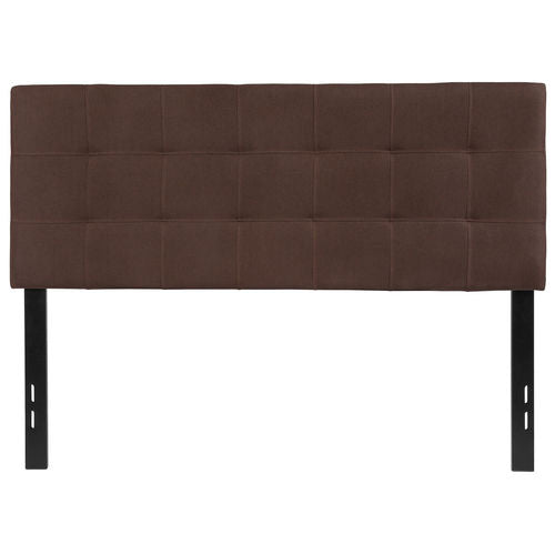 Nicer Furniture - Bed-ford Tufted Upholstered - Full Size Headboard - Dark Brown Fabric