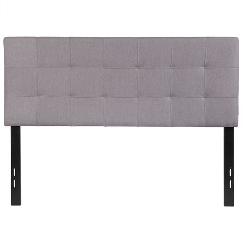 Nicer Furniture - Bed-ford Tufted Upholstered  -Full Size Headboard - Light Gray Fabric