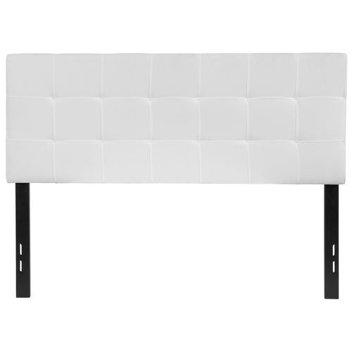 Nicer Furniture - Bed-ford Tufted Upholstered - Full Size Headboard - White Fabric