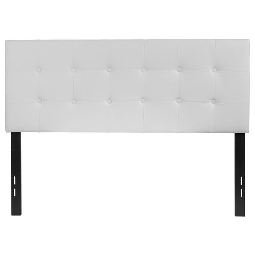 Nicer Furniture - Lennox Tufted Upholstered - Full Size Headboard - White Vinyl