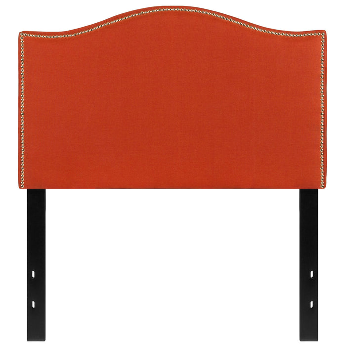 Nicer Furniture - Lexington Upholstered Twin Size Headboard with Decorative Nail Trim in Orange Fabric