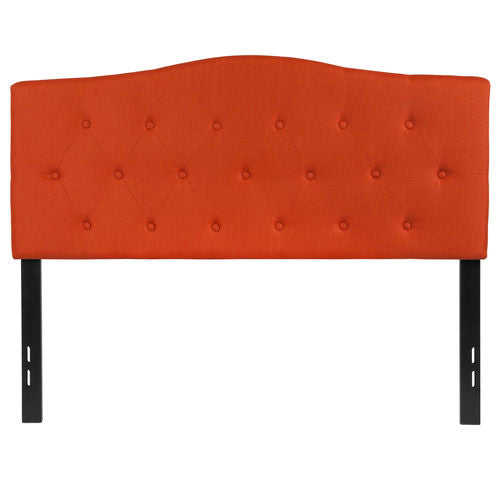 Nicer Furniture - Cambridge Tufted Upholstered Full Size Headboard in Orange Fabric