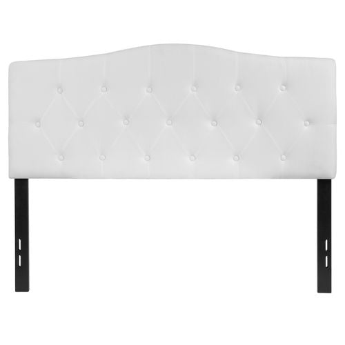 Nicer Furniture - Cambridge Tufted Upholstered Full Size Headboard in White Fabric