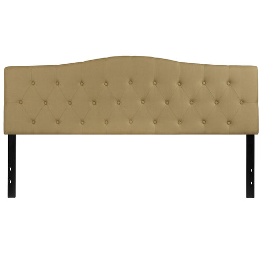 Nicer Furniture - Cambridge Tufted Upholstered King Size Headboard in Green Fabric