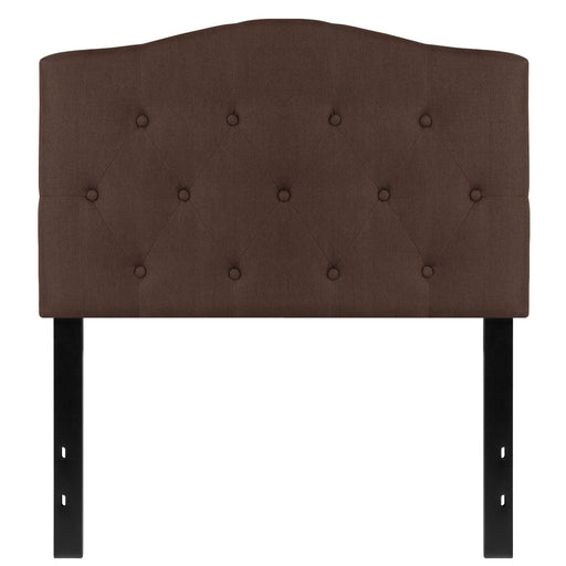 Nicer Furniture - Cambridge Tufted Upholstered Twin Size Headboard in Dark Brown Fabric