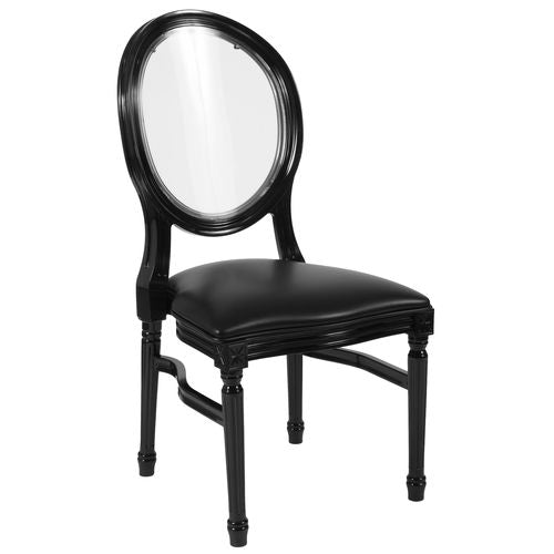 Nicer Furniture - HERCULES - King Louis Chair - Transparent Back, Black Vinyl Seat - Black Frame