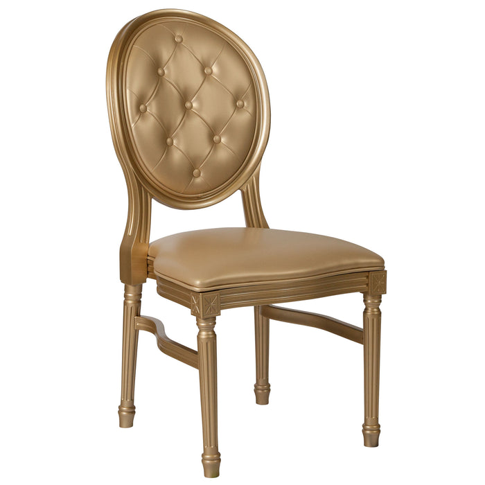 Nicer Furniture - HERCULES - King Louis Chair - Gold Vinyl Back and Seat - Gold Frame