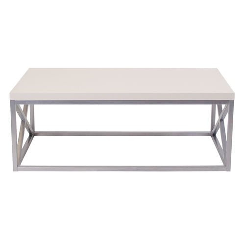 Nicer Furniture - Park Ridge - Cream Coffee Table - Silver Frame