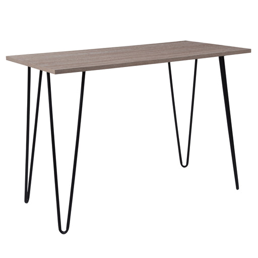 Nicer Furniture - Oak Park Driftwood  - Console Table - Black Metal Legs