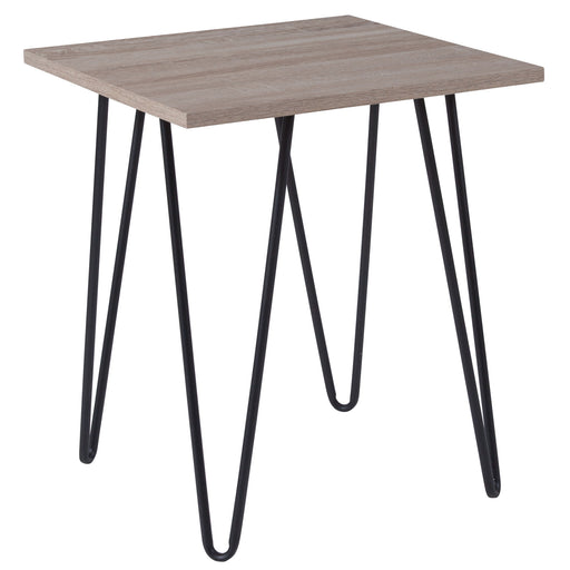 Nicer Furniture - Oak Park Driftwood - End Table - Black Metal Legs