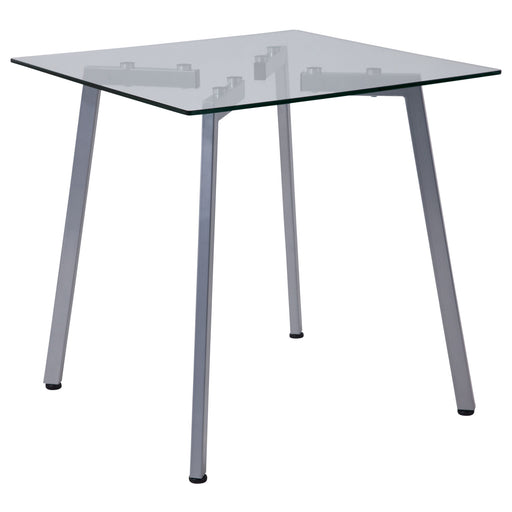 Nicer Furniture - Roxbury  Glass End Table -Silver Metal Legs