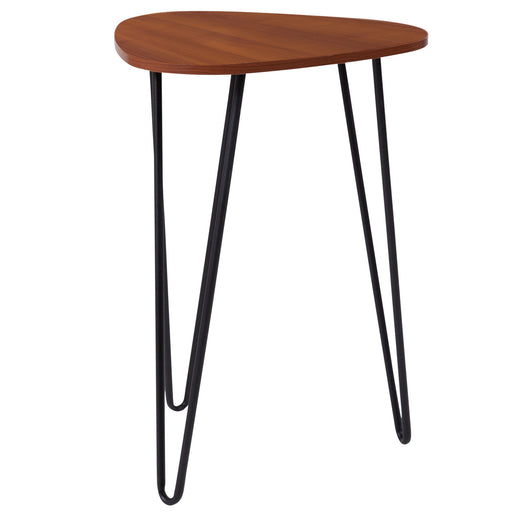Nicer Furniture - Charlestown Cherry Wood - End Table - Black Metal Legs