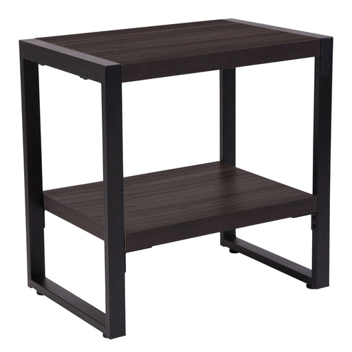 Nicer Furniture  - Thompson Charcoal Wood - End Table - Black Metal Frame