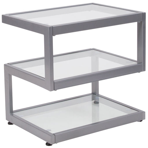 Nicer Furniture - Ashmont  Glass - End Table - Contemporary Steel
