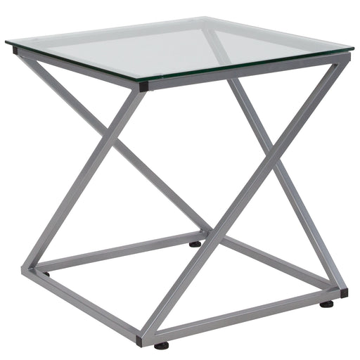 Nicer Furniture - Park Avenue - Glass End Table -Contemporary Steel