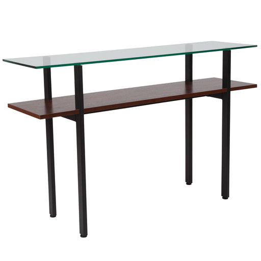 Nicer Furniture - West End - Glass Console Table - Walnut Finish Shelf