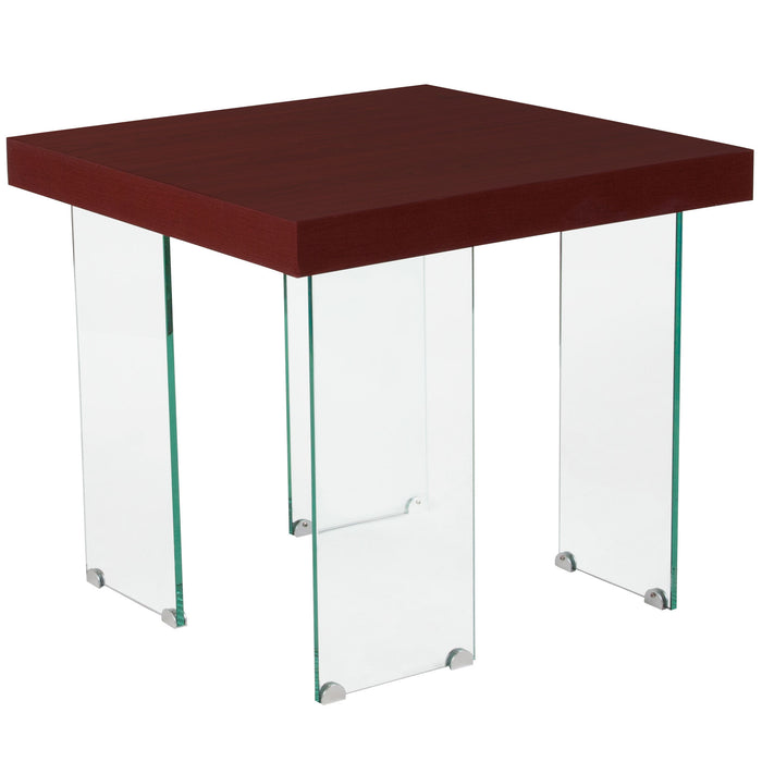 Nicer Furniture Forest Hills Red Cherry Wood End Table Glass Leg
