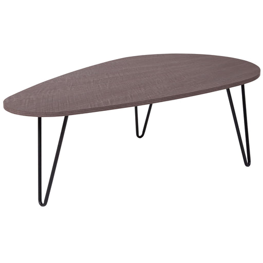 Nicer Furniture - Westminster Oak Wood - Coffee Table - Black Metal Legs