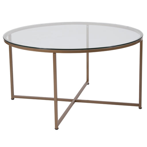 Nicer Furniture - Greenwich  Glass Coffee Table -Matte Gold Frame
