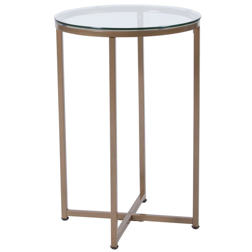 Nicer Furniture - Greenwich Glass End Table - Matte Gold Frame