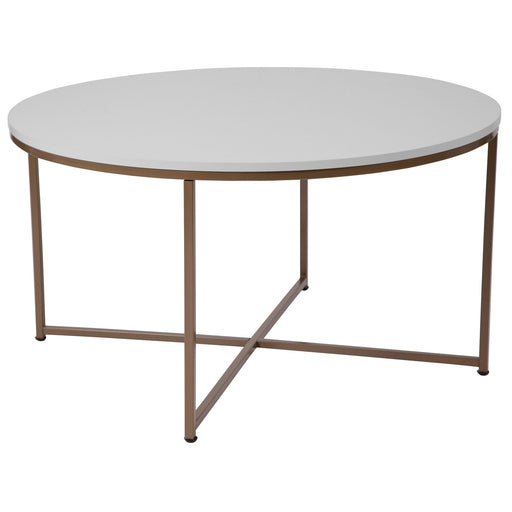 Nicer Furniture - Hampstead -White Coffee Table - Matte Gold Frame