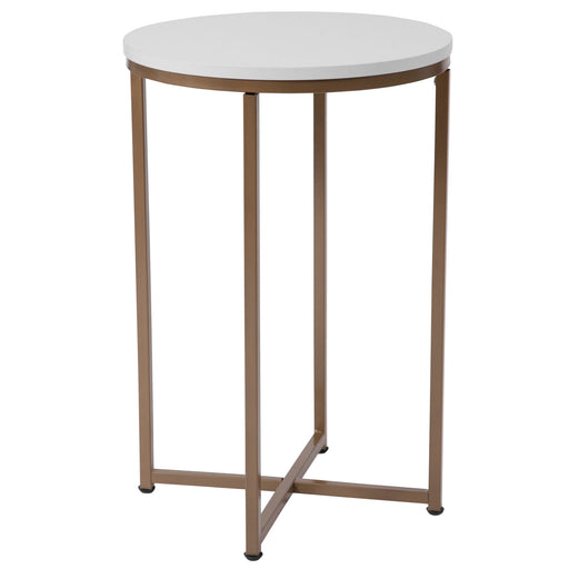 Nicer Furniture - Hampstead - White End Table - Matte Gold Frame