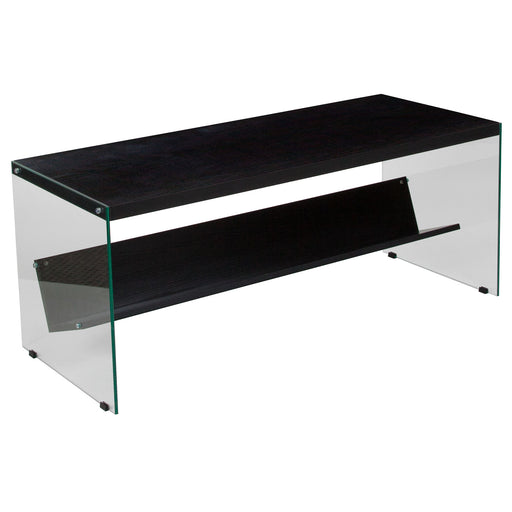Nicer Furniture - Highwood Dark Ash Wood - Coffee Table - Shelves -Glass Frame